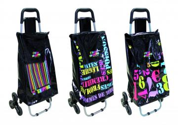 chariot de course 6 roues m tal 40 l cabas pousette march. Black Bedroom Furniture Sets. Home Design Ideas