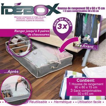 housse de rangement dessous lit 90x60x15 3 sacs sous vide comprimable tiroir ebay. Black Bedroom Furniture Sets. Home Design Ideas