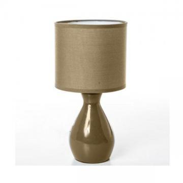 lampe c ramique pied bouteille taupe abat jour tissu de table chevet d co ebay. Black Bedroom Furniture Sets. Home Design Ideas