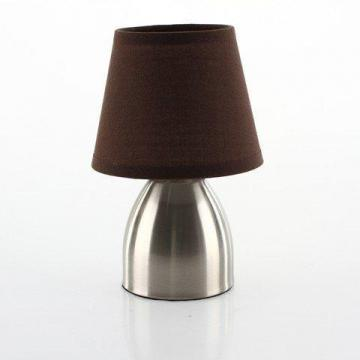 Lampe de chevet touch pied en m tal abat jour chocolat - Lampe de chevet metal ...