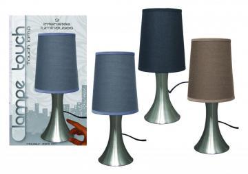 Lampe touch pied en m tal grise h 29 5 cm - Lampe de chevet grise ...