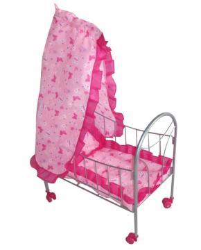 lit poup e en m tal avec ciel de lit rose. Black Bedroom Furniture Sets. Home Design Ideas