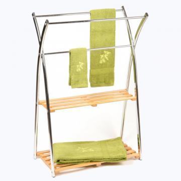 Porte serviette en bambou avec 2 tag res support seche - Support a serviette sur pied ...