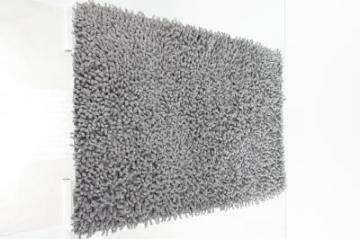 Tapis salle de bain chenille gris - Tapis salle de bain gris ...