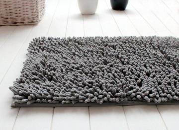 Tapis salle de bain chenille gris for La redoute tapis salle de bain