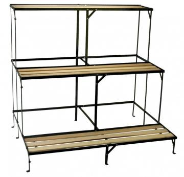 etagere m tal et bois porte plantes plante serre veranda fleurs pot semis ebay. Black Bedroom Furniture Sets. Home Design Ideas