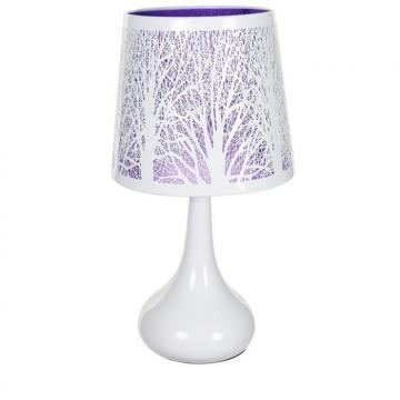 lampe tactile arbre violet abat jour et pied m tal chevet. Black Bedroom Furniture Sets. Home Design Ideas