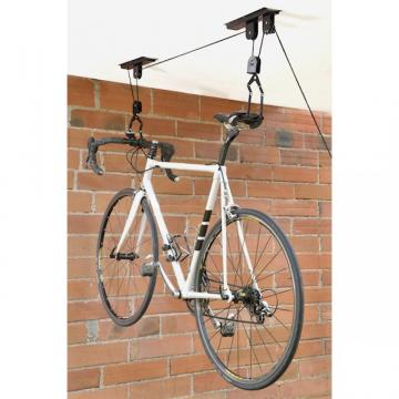 Porte v lo suspension support range potence rangement - Porte velo plafond systeme fixation poulie ...
