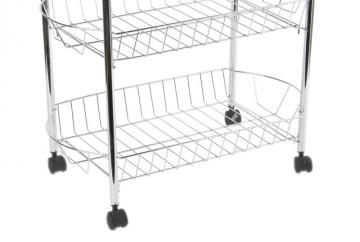 resserre l gumes 3 paniers en m tal chrom roulettes rangement etag res fruits. Black Bedroom Furniture Sets. Home Design Ideas